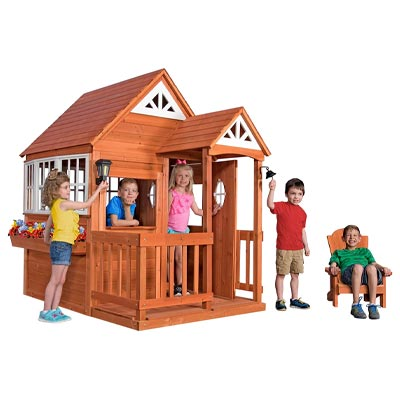 Backyard Discovery Deluxe Cedar Mansion Wooden Playhouse