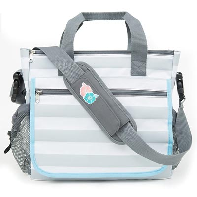 Bula Baby - Stylish Grey Stripe Diaper Tote Organizer Bag