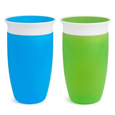 Munchkin Miracle 360° Sippy Cup, Green/Blue, 10 Ounce, 2 Count
