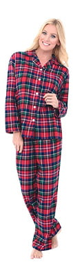 Alexander Del Rossa Womens Plaid Flannel Pajamas