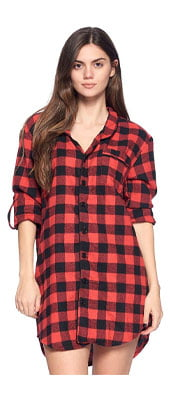 Ashford & Brooks Women's Flannel Plaid Sleep Shirt Button Down Nightgown